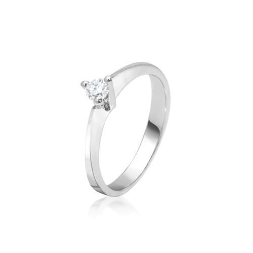 טבעת יהלום 0.15 קראט בזהב לבן