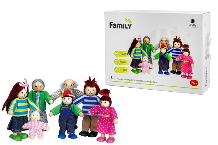 בובות משפחה מעץ 7 נפשות