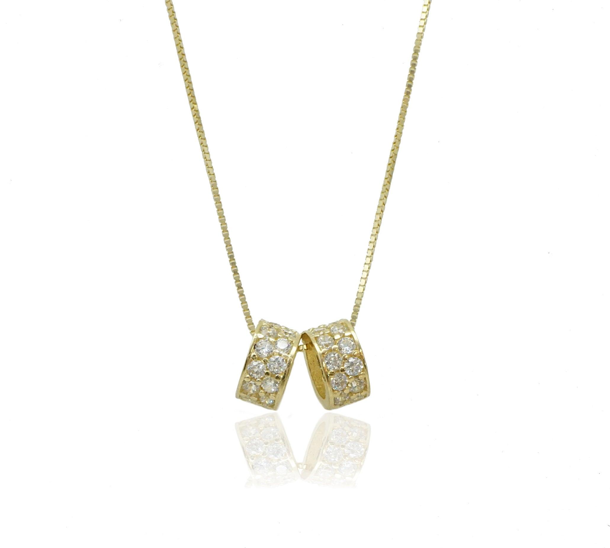 תליון זהב וזרקונים עדין עגול בסגנון צ'ארמס