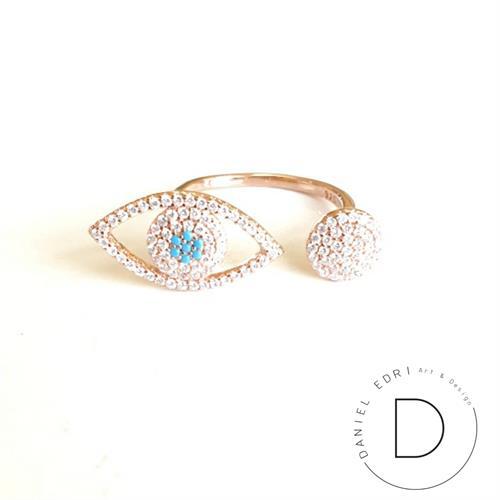 טבעת עין ועיגול פתוחה- זהב אדום