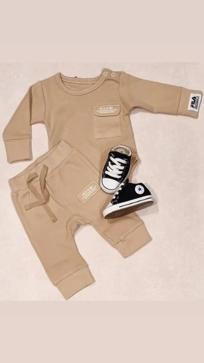 חליפת תינוק בגד גוף מכנס בז'