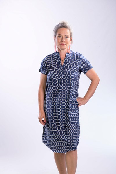 שמלת גלביה קצרה כותנה בכחול כהה