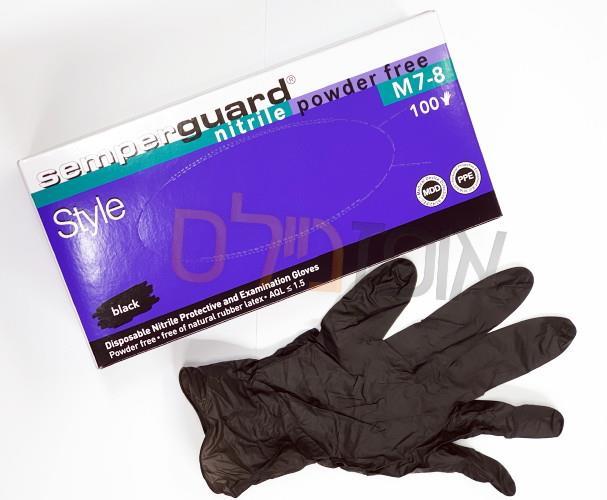 כפפות חד פעמיות ניטריל שחור SEMPER GUARD (יחידות 100)