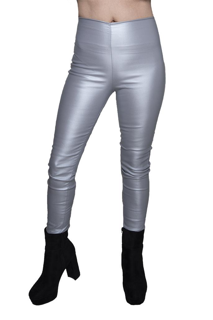 מכנס דמוי עור ללא רוכסן וללא כפתור בצבע אפור כסף