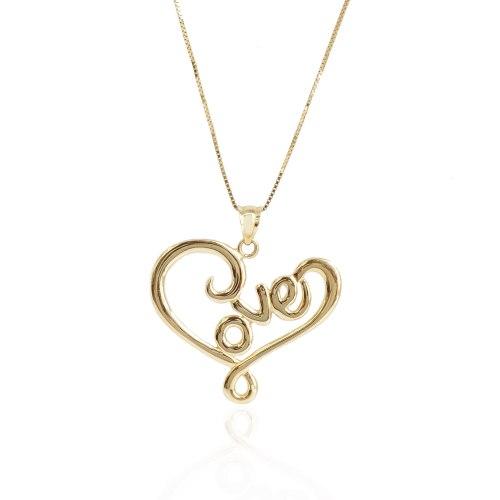 שרשרת לב זהב לאישה עם כיתוב LOVE