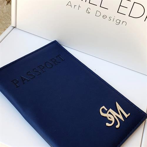 כיסוי דרכון כחול כהה- 2 אותיות