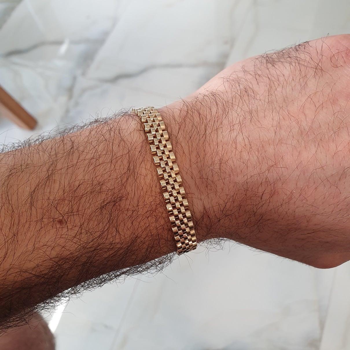 צמיד איטלקי לגבר , צמיד חוליות בזהב 14 קרט