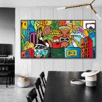 תמונת פופ ארט צבעונית לפינת אוכל של האמן כפיר תג'ר