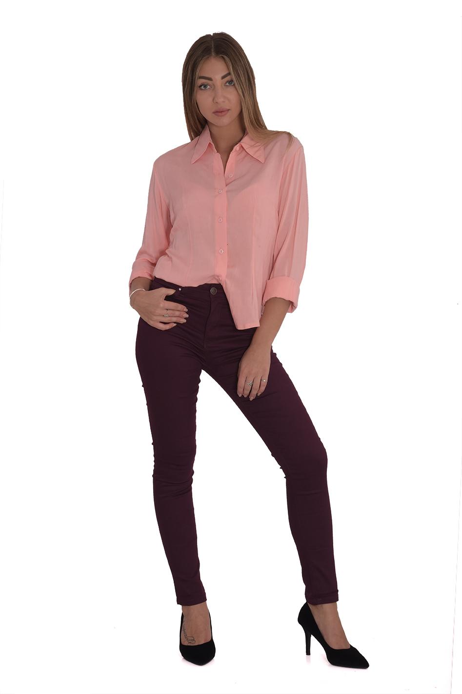 מכנס כותנה קלסי בצבע חציל