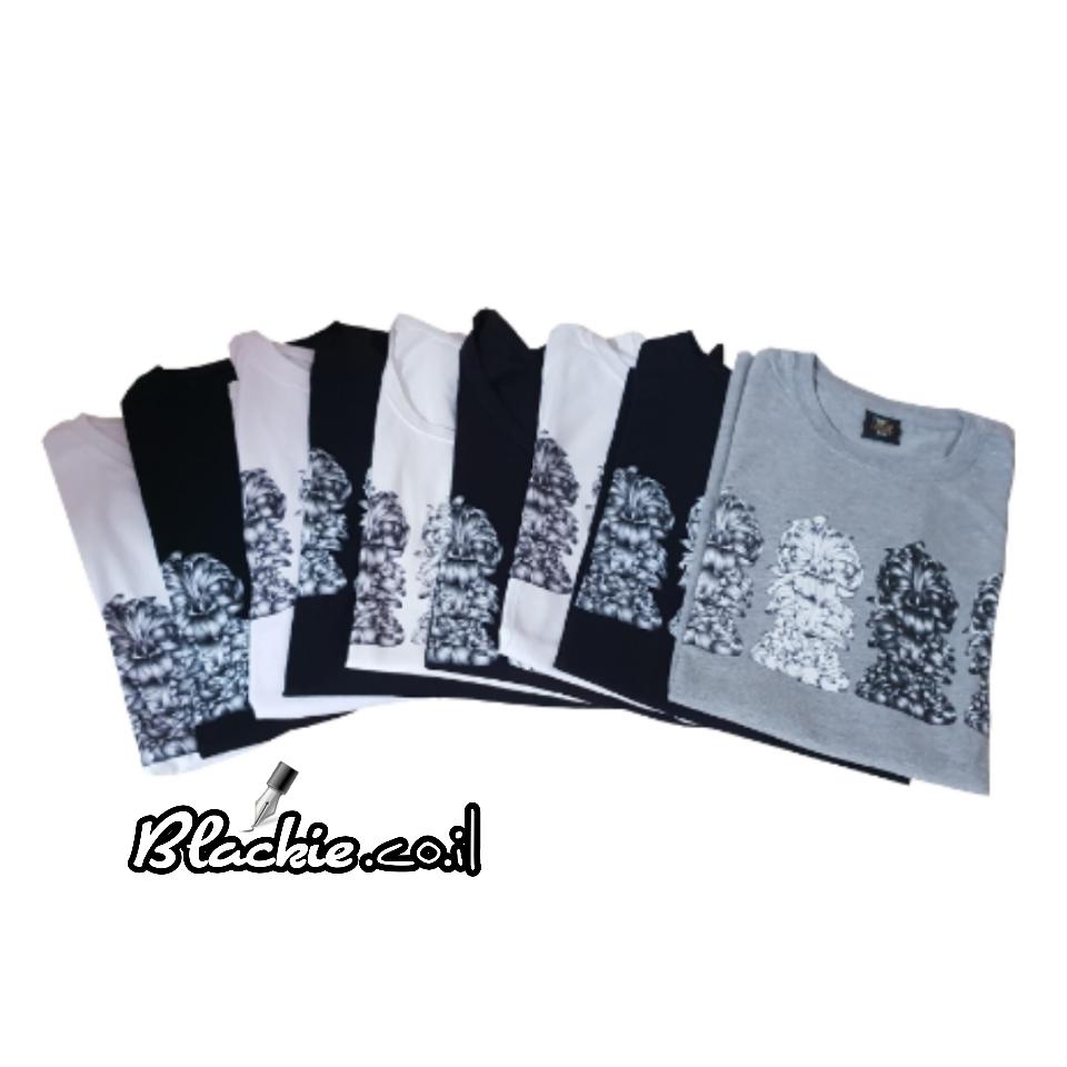 חולצה לקיץ מקומית הדפס גראפי נעול צבע שחור