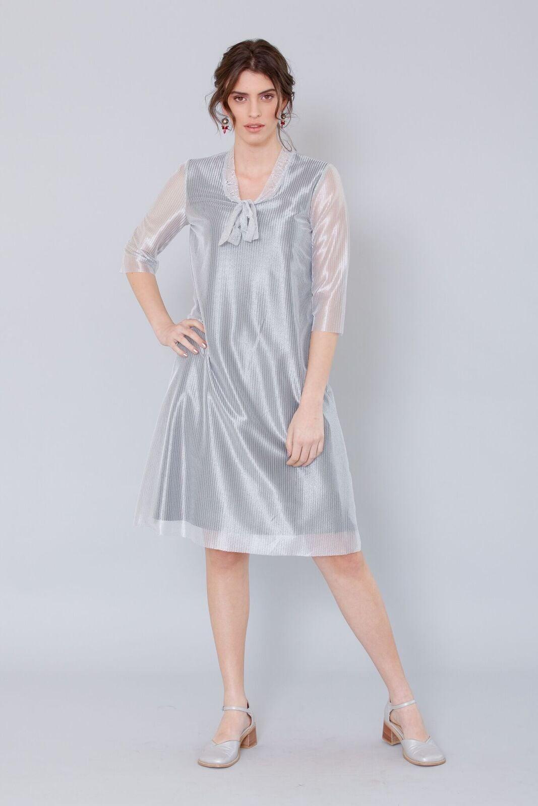 שמלת אלזה כסופה בוהקת