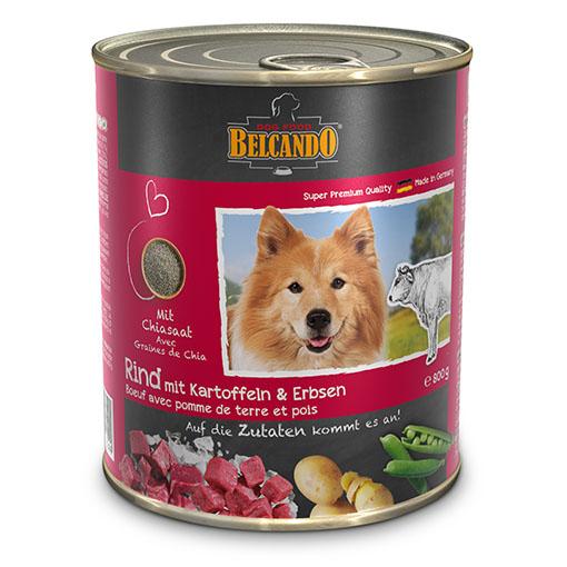 שימורי מזון כלבים בלקנדו – בקר תפוח אדמה+אפונה 800 גר'