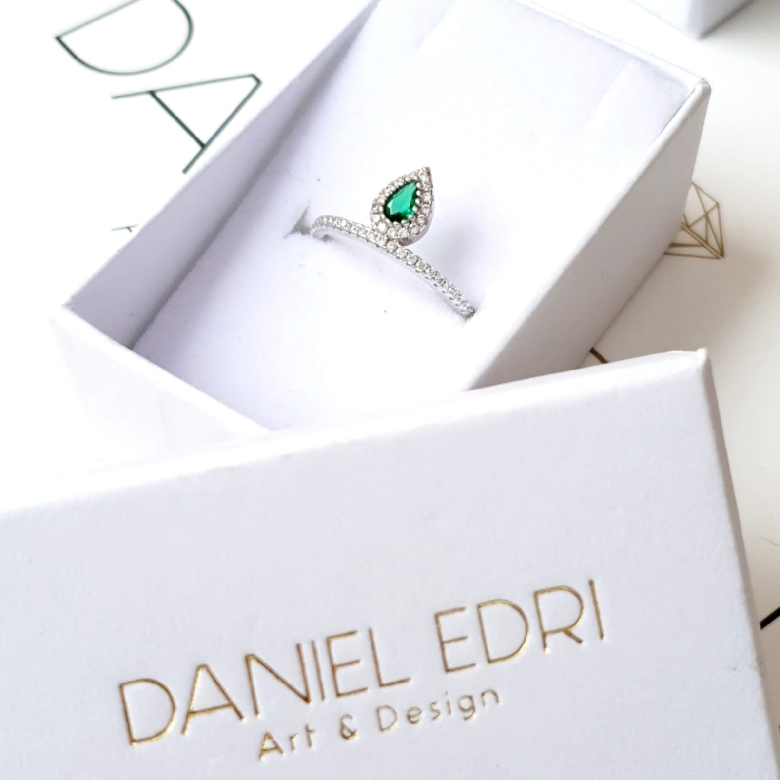 טבעת טיפה כסף-ירוק