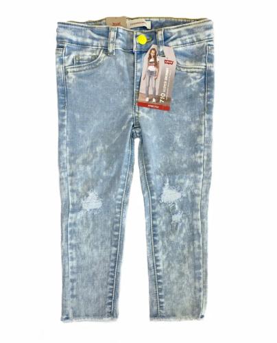 ג׳ינס כתמים וקרעים LEVIS עם כפתור צהוב בנות - 1-16 שנים