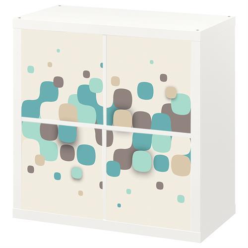 4 יח' טפט להדבקה על דלת כוורת (KALLAX)- טפט גוונים ירוקים