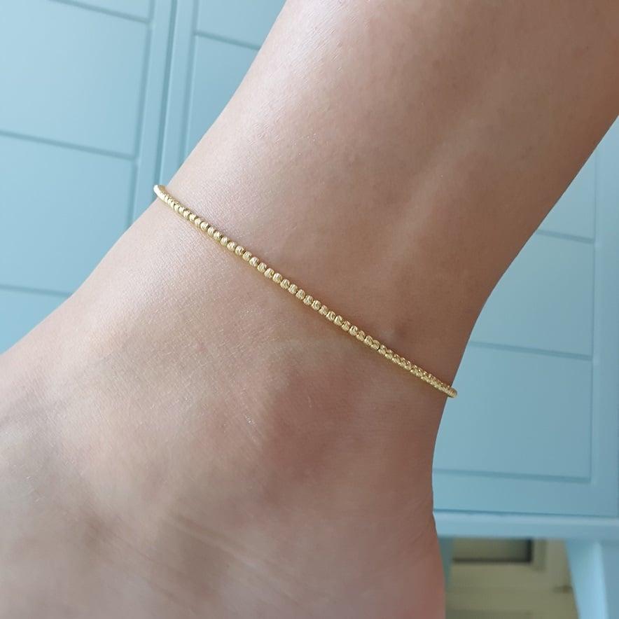 צמיד לרגל מזהב צמיד זהב לרגל צמיד כדורים לרגל