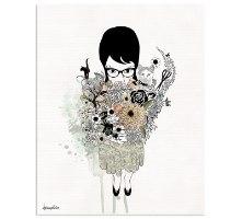 ציור גותי של אישה עם פרחים