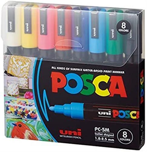 סט טושים 8 צבעים - POSCA 5M