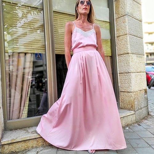 חצאית קפלים -  ורוד בייבי