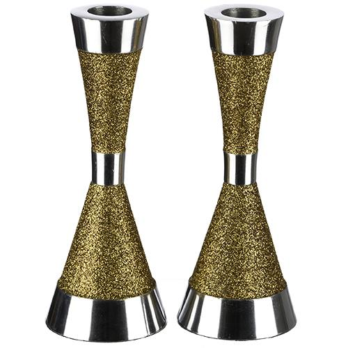 Aluminum candle holder in shade of gold shimmer 16 cm