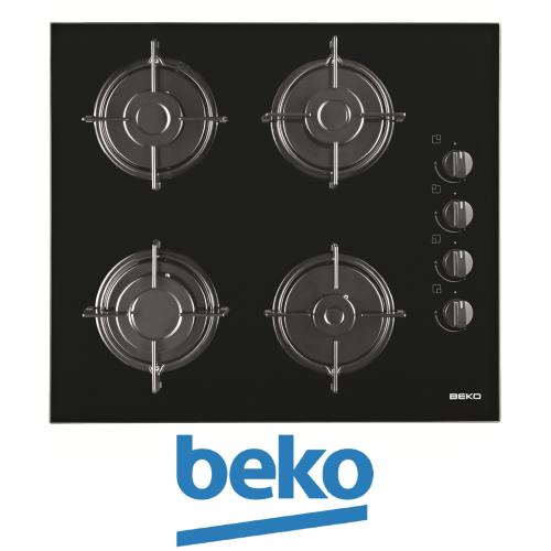 """כיריים גז זכוכית שחורה 60 ס""""מ beko דגם: HISG-64120S"""