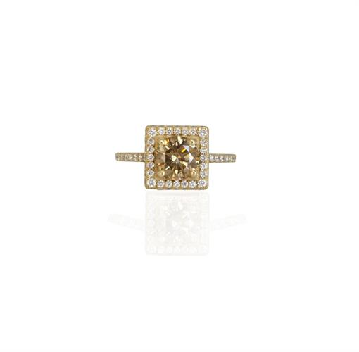 טבעת יהלומים מרובעת