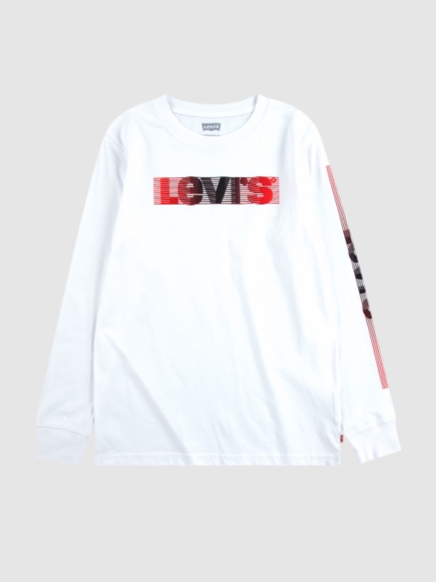 Levis טי שירט לבנה הולוגרמה לוגו ביד מידות 1-13 שנים