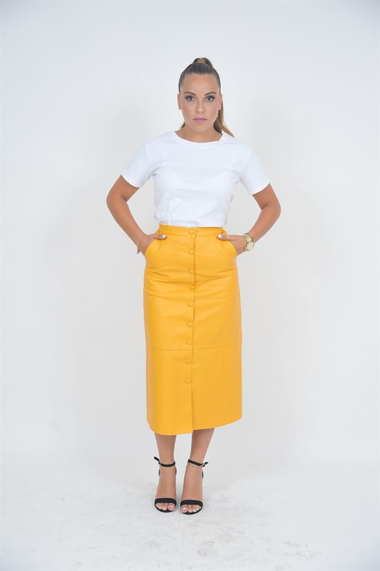 חצאית מואיז ויטו דמוי עור צהובה