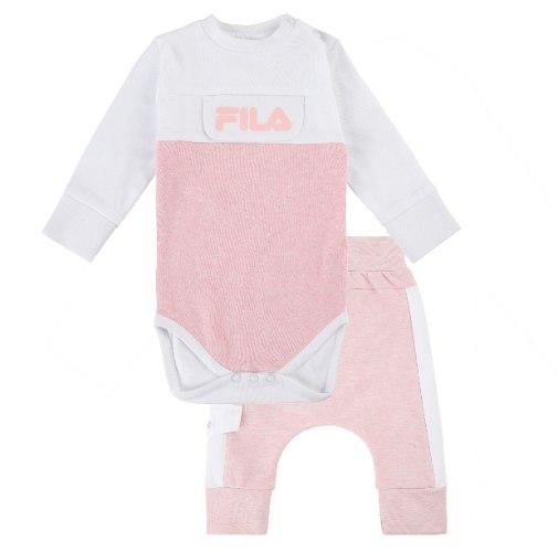 חליפת בייבי בנות ורוד/לבן FILA תינוקות - מידות NB עד 12 חודשים