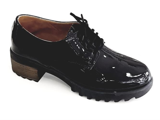 נעל טרקטור עור לק שחור