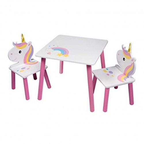 סט שולחן ושני כיסאות מעץ - חד קרן