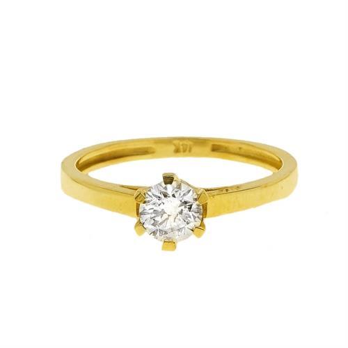 טבעת יהלום קלאסית 0.55 קראט |טבעת יהלום זהב צהוב 14 קרט|תעודה IGL