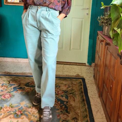 ג'ינס באגי טורקיזי מופלא מידה S/M