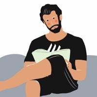 """גבר קורא בספר - מתוך """"החיים יפים"""", הסדרה האופטימית"""