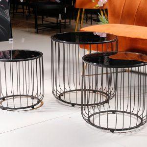 סט 3 שולחנות מתכת+זכוכית LONCOLN  מידות: 50X48 38X36