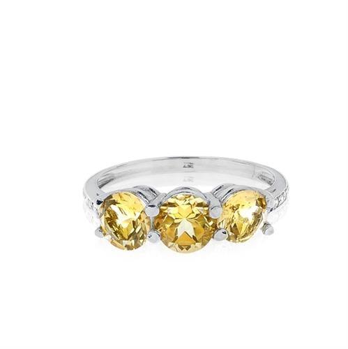 """טבעת זהב 14 קרט """"שלוש אבנים"""" משובצת סיטרין ויהלומים 0.07 קראט"""