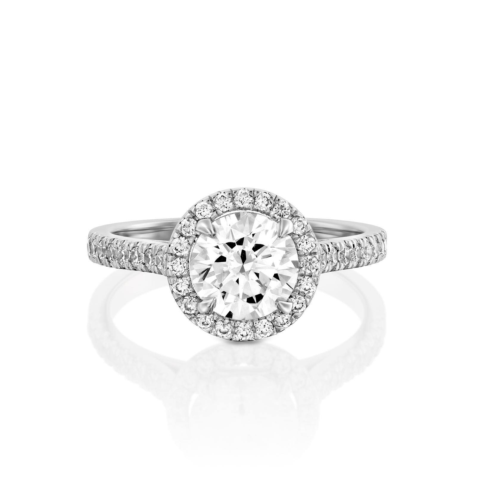 טבעת אירוסין זהב לבן 14 קראט משובצת יהלומים HALOW MAYA
