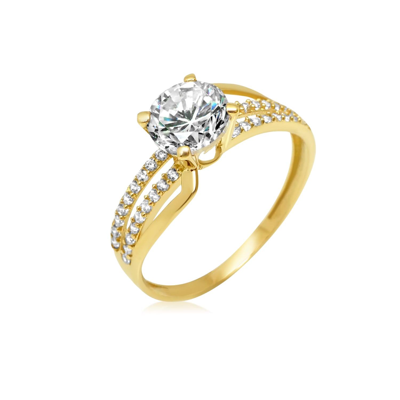 טבעת זהב עם זרקון ושתי שורות זרקונים