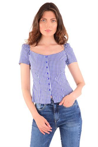 חולצה ניקי משבצות כחול לבן