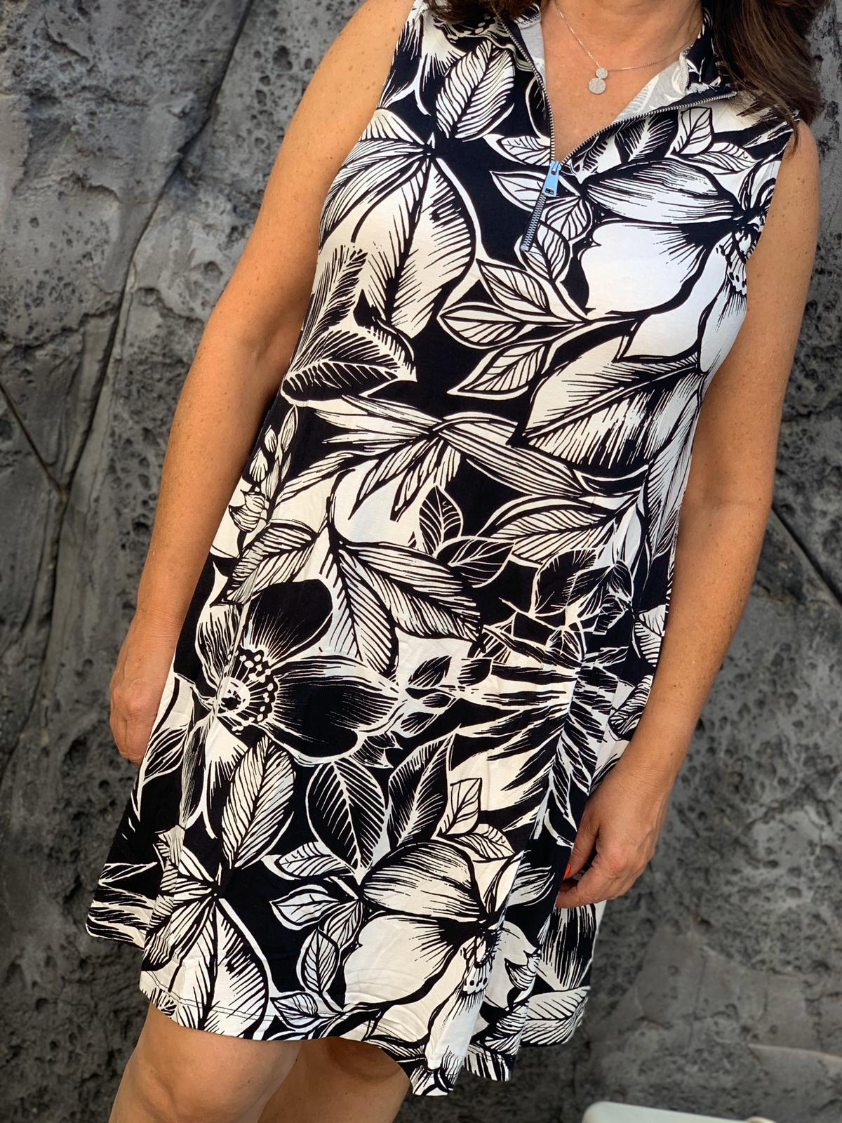 שמלה גולף רוכסן שילוב שחור