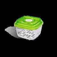 """כלי אחסון מזון מרובע מזכוכית בנפח 1.1 ליטר, גובה 8.5 ס""""מ"""