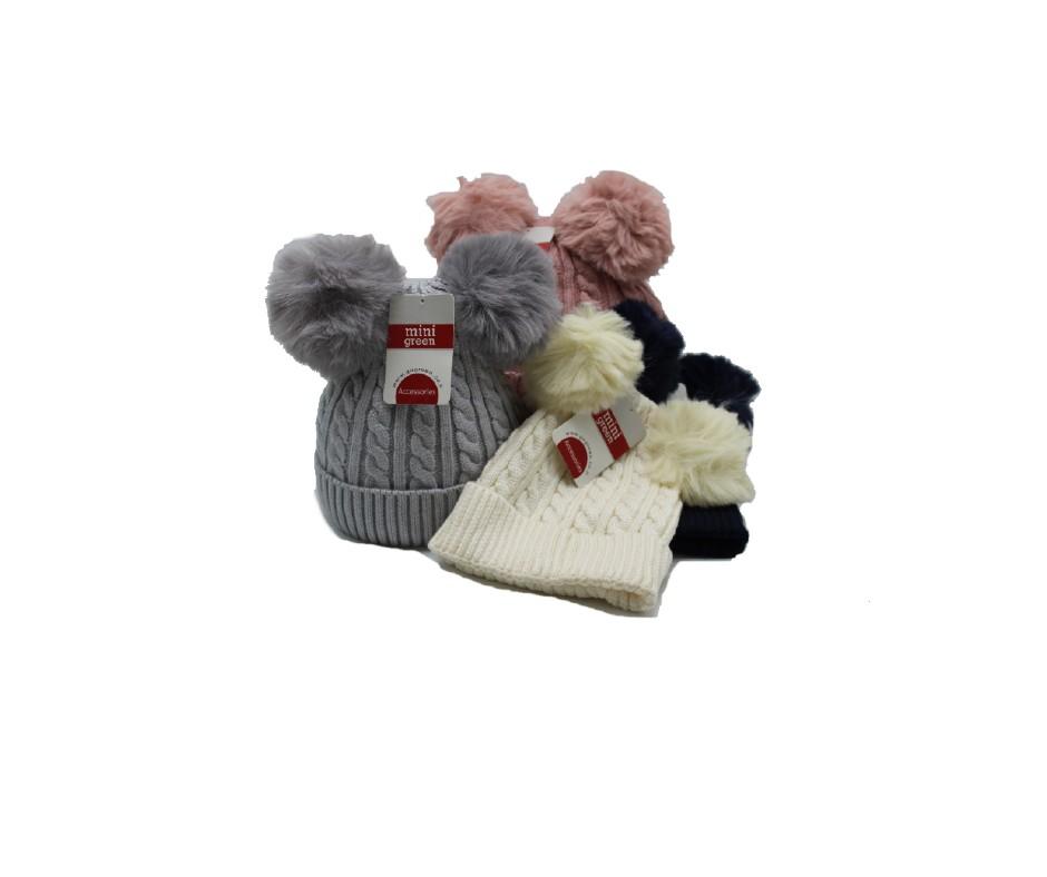 כובע תינוק + 2פונפונים