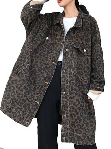 Retro Leopard Loose Long Denim Jackets Coat