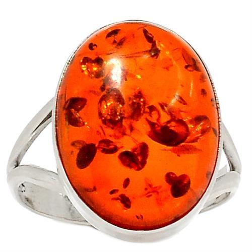 טבעת כסף משובצת ענבר RG9275 | תכשיטי כסף 925