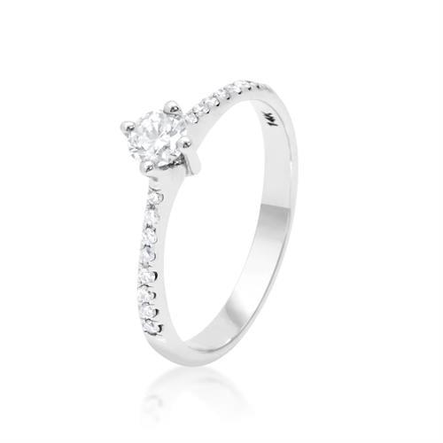 טבעת זהב לבן ויהלומים|אירוסין 0.40 קראט