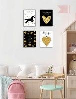 תמונות השראה שחור לבן זהב לחדר ילדה/ נערה דגם 030