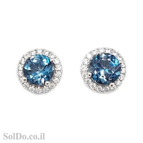 עגילי כסף צמודים משובצים אבני טופז כחולות וזרקונים A8619 | תכשיטי כסף 925 | עגילי כסף