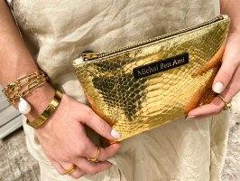 תיק קלאץ' גדול זהב