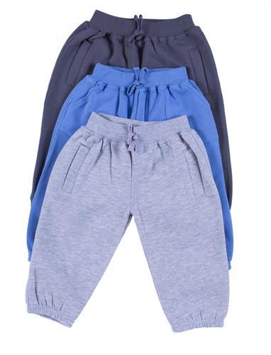 שלישיית מכנסי פוטר אפור כהה-כחול-אפור בהיר