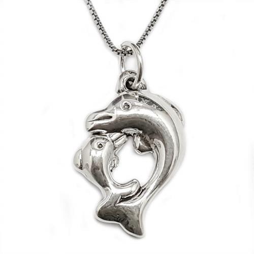 תליון מכסף 2 דולפינים כולל שרשרת T5899